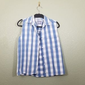 Best of Terra Blue and White Plaid Top